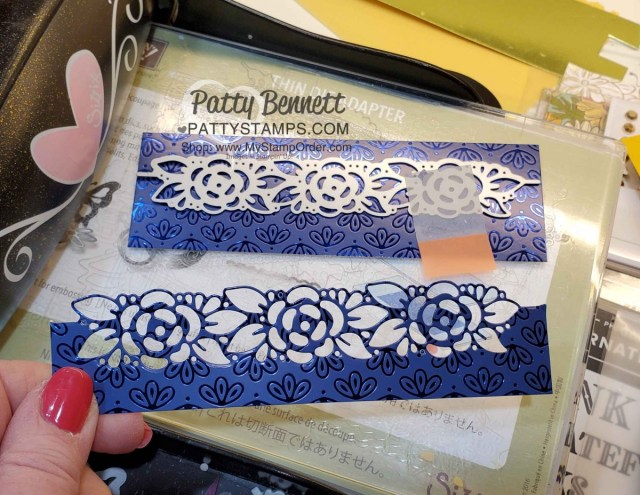 Stampin Up Card supplies featuring Noble Peacock foil, and Ornate Border dies by Patty Bennett www.PattyStamps.com