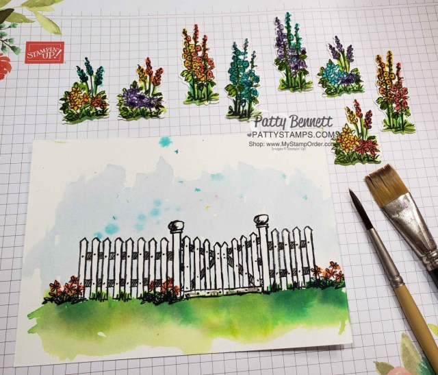 How I watercolored the Stampin Up Grace's Garden fence and flowers card, by Patty Bennett www.PattyStamps.com