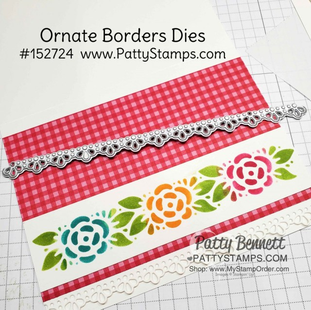Stenciling technique;  Ornate Borders dies used as a stencil to add color to the flowers and leaves with sponge daubers. Cardmaking supplies from Stampin' Up!. www.pattystamps.com