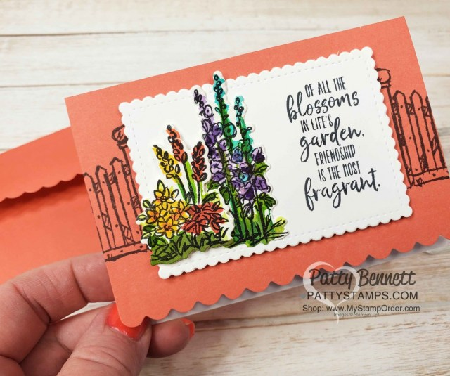Grace's Garden Stampin Up set Scalloped Note Card idea by Patty Bennett featuring watercoloring with ink refills www.PattyStamps.com