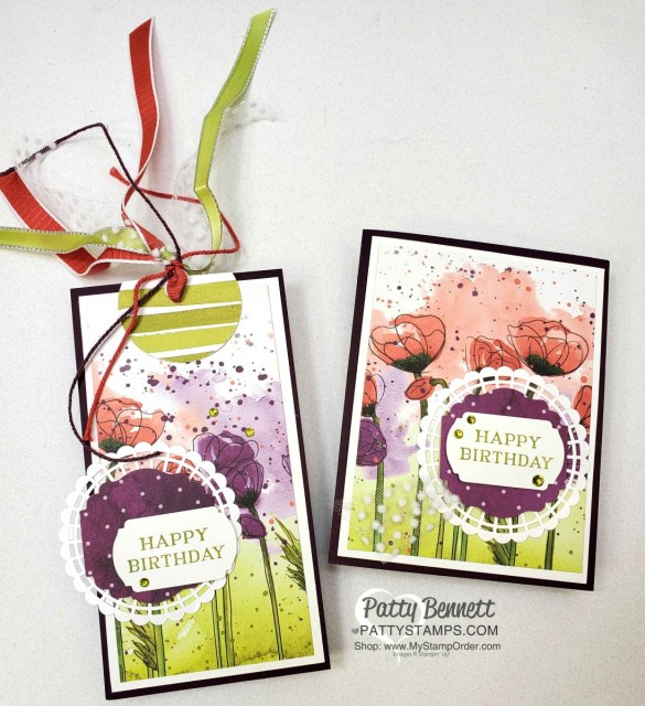 Peaceful Poppies designer paper birthday gift bag tag and matching birthday card idea. www.PattyStamps.com