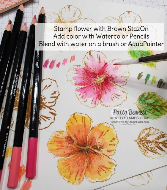 Watercolor Tips for the Timeless Tropical bundle from the Stampin Up Tropical Oasis suite hibiscus flower stamped with Brown StazOn ink pad and colored with watercolor pencils.  www.PattyStamps.com