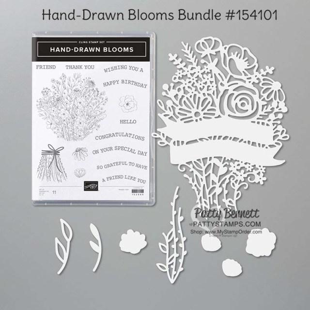 154101 Stampin Up Hand-Drawn Blooms bundle - Patty Bennett www.pattystamps.com