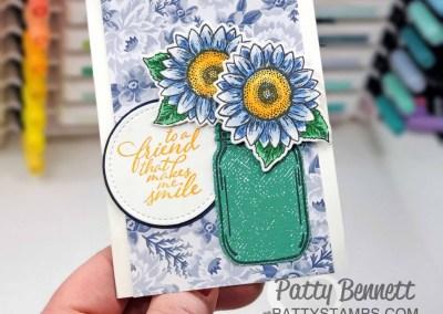 Mason Jar Sunflower Note Card