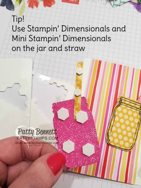 Tip for using Stampin' Dimensionals. Jar of Flowers bundle from Stampin' UP!: Mason Jar pink and yellow lemonade card idea with straw and In Color polkadot paper. www.PattyStamps.com