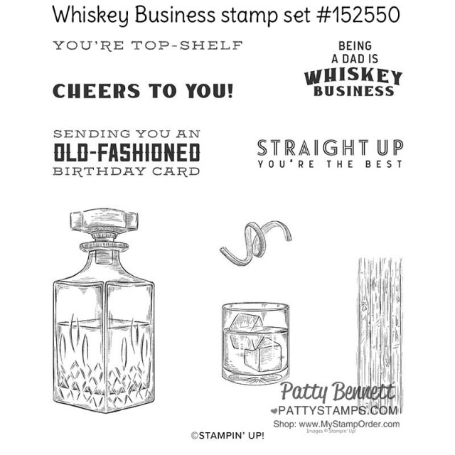 Whiskey Business stamp set #152550  for handmade cards www.PattyStamps.com