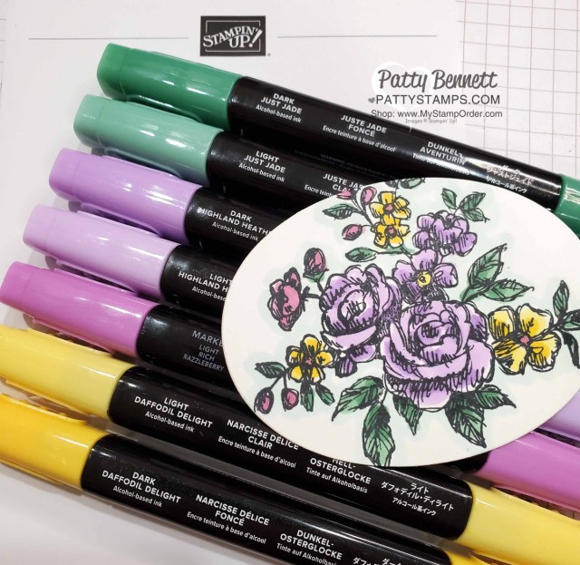 Color Combo for: Stampin Up Fancy Phrases floral stamp set #152530 is a great outline flower stamp perfect for coloring with Stampin' Blends markers. by Patty Bennett www.PattyStamps.com