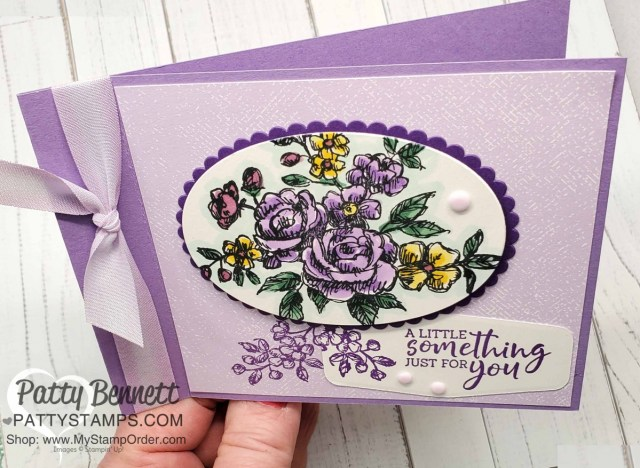Easy Side Fold / Fun Fold Card idea. Color Combo for: Stampin Up Fancy Phrases floral stamp set #152530 is a great outline flower stamp perfect for coloring with Stampin' Blends markers. by Patty Bennett www.PattyStamps.com