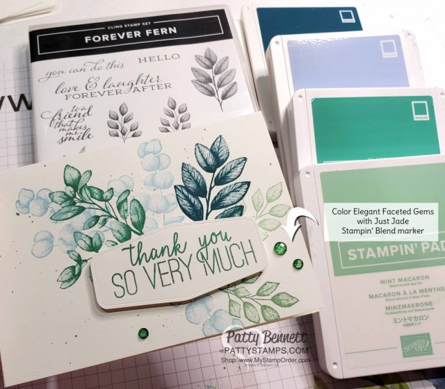 Forever Fern #simplestamping note card featuring Elegant Faceted Gems colored with Stampin Blends markers by Patty Bennett www.PattyStamps.com