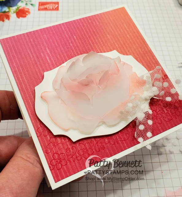 Die cut Prized Peony dies with Cardstock Vellum, sponge and curl edges. Card idea by Patty with supplies from Stampin' UP! www.PattyStamps.com