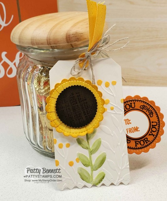 Stampin UP Greenery embossing folder #152716 creates a perfect background for the punch art sunflower image. www.PattyStamps.com