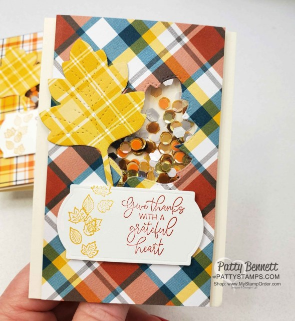 How to make a quick and easy shaker card with the Stampin' UP! Plaid Tidings paper stack, Stitched Leaves dies and the Autumn Greetings stamp set from the 2020 Holiday catalog. www.PattyStamps.com