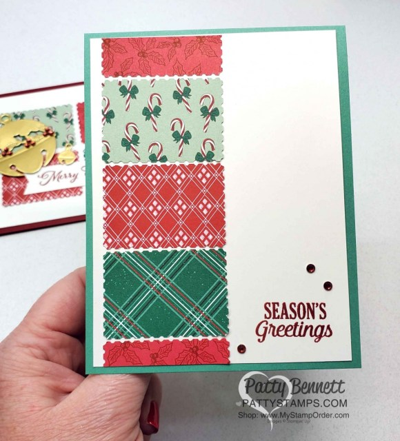 Quick and Easy handmade Christmas Card idea with the Stampin UP! postage stamp punch and Tis the Season designer paper. www.PattyStamps.com