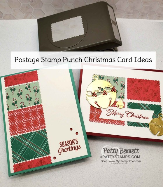 Quick and Easy handmade Christmas Cards with the Stampin UP! postage stamp punch and Tis the Season designer paper. www.PattyStamps.com