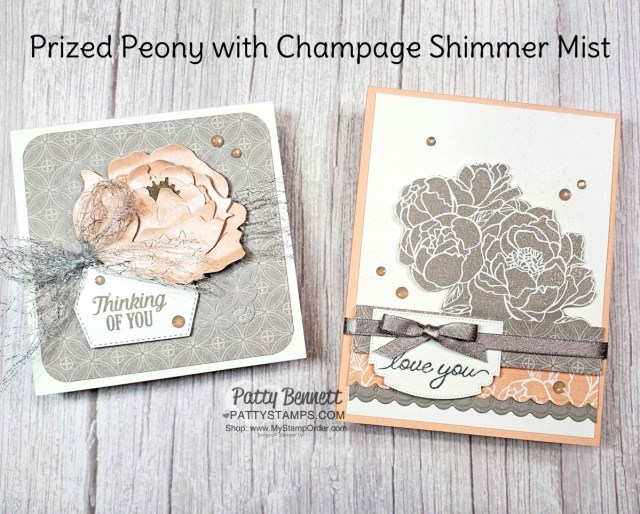 Peony Garden designer paper features Gray Granite and Petal Pink - gorgeous combo for these Prized Peony floral cards! www.PattyStamps.com