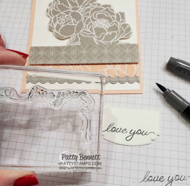 Use omitting technique by coloring part of the stamp with your Stampin' Write marker. Stamp set: Festive Corners from Stampin' UP! www.PattySTamps.com