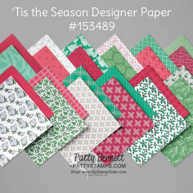 Stampin' UP! 'Tis the Season designer paper great for Christmas cards and crafts #153489 www.MyStampOrder.com