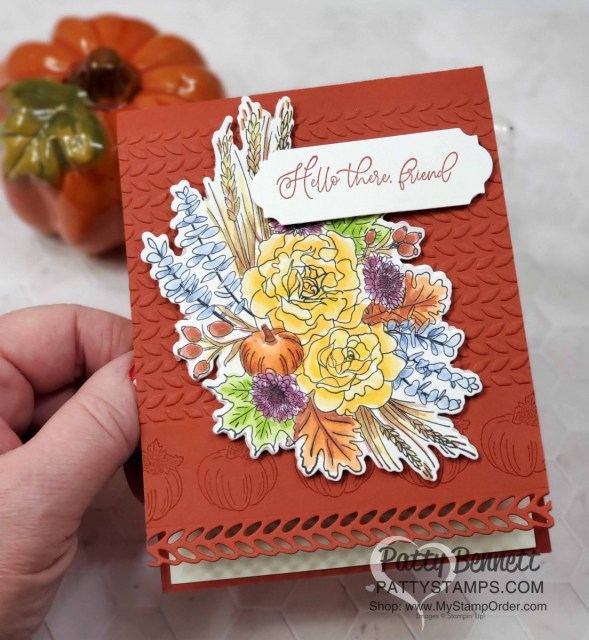 Coloring with Stampin' Blends and the Autumn Greetings bundle from Stampin' Up!. Fall card idea also featuring the Greenery Embossing Folder by Patty Bennett www.PattyStamps.com