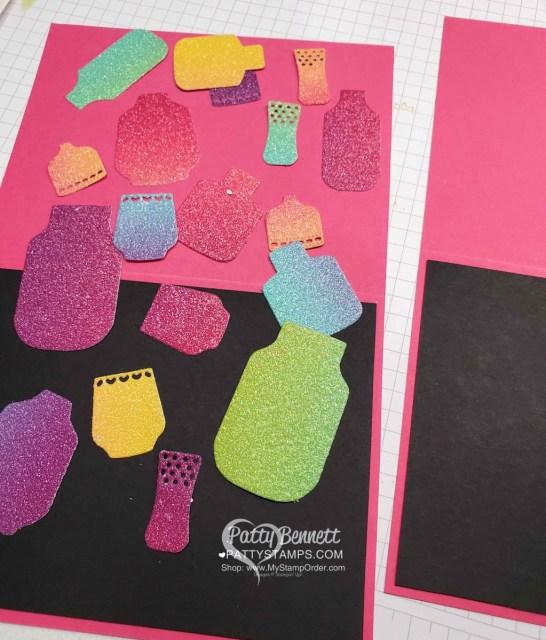 Boho Indigo dies die cut with Rainbow Glimmer paper. Amazing card idea with black background. www.PattyStamps.com