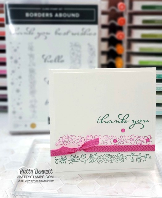 Clean and Simple / Simple Stamping Card idea featuring Stampin' UP! Borders Abound stamp set. By Patty Bennett