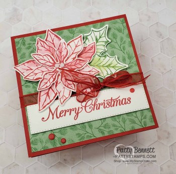 Easy Poinsettia Christmas Card with Wink of Stella