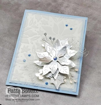 Silver and Blue Poinsettia Card Idea