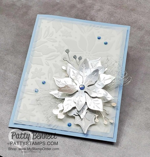 Poinsettia Petals flower die cut card idea featuring Stampin' UP! Plush Poinsettia Flocked Vellum paper and Blue Gems. by Patty Bennett www.PattyStamps.com