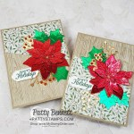 Red and Green foil Poinsettia Christmas cards featuring Stampin