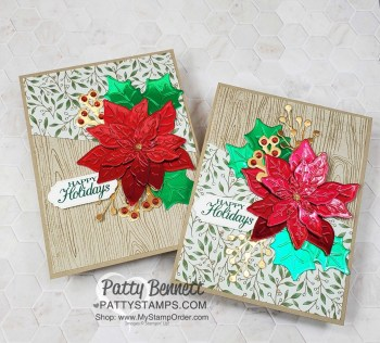 Red and Green Foil Poinsettia Christmas Card Idea