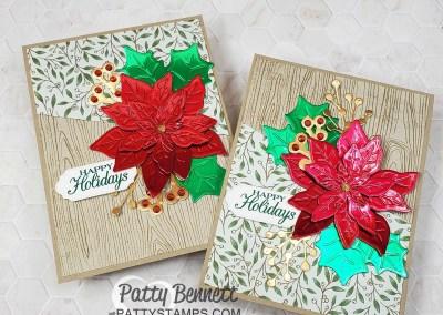 Red and Green Foil Poinsettia Christmas Card Idea