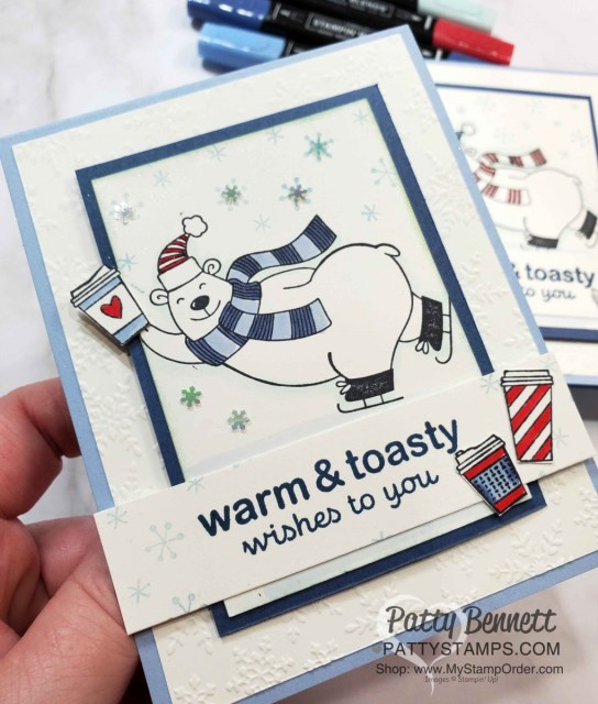 Stampin UP Warm & Toasty card idea: color polar bear with Stampin' Blends markers. Add coffee cups from Press On Set, Winter Snow embossing folder background. by Patty Bennett www.PattyStamps.com