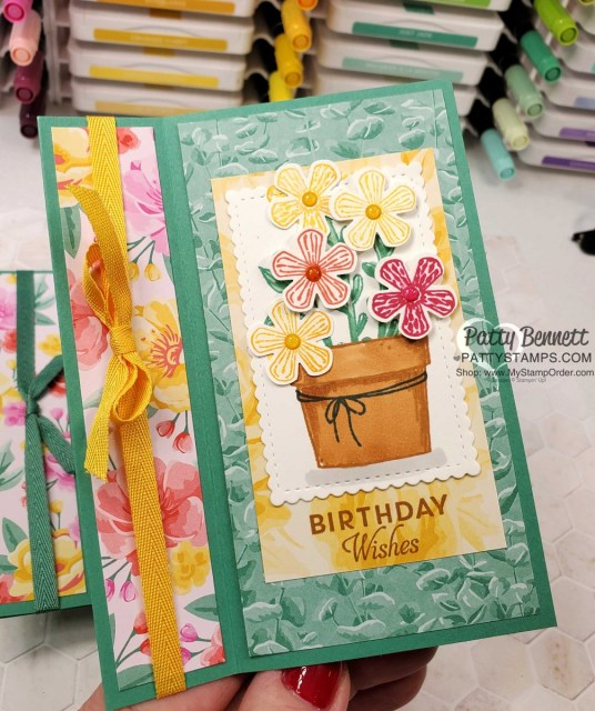 Easy Fun Fold card idea featuring Stampin' UP! Basket of Blooms stamp set.  Flowers for Every Season paper, Bumblebee ribbon  and Stampin' Blends coloring. by Patty Bennett www.PattyStamps.com
