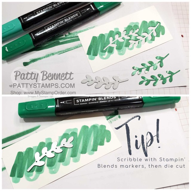 Tip! Color with Stampin' Blends markers on Whisper White cardstock, then die cut with sprig from Curvy Celebrations dies. www.PattyStamps.com