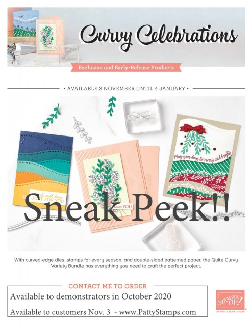 Stampin' UP! limited time Curvy Celebrations variety bundle. Quite Curvy and Curvy Christmas stamp sets, Curvy Dies and Classic Christmas designer paper. www.PattyStamps.com