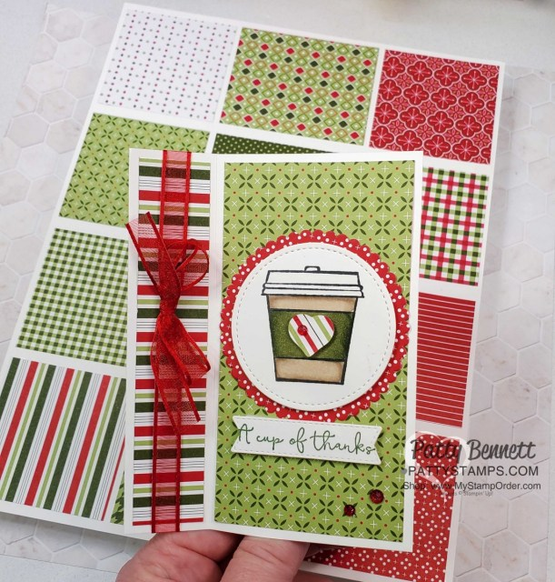 Super Easy Fun Fold card idea featuring Stampin' UP! Press On set with coffee cup, and the Heartwarming Hugs Designer paper, by Patty Bennett, www.PattyStamps.com
