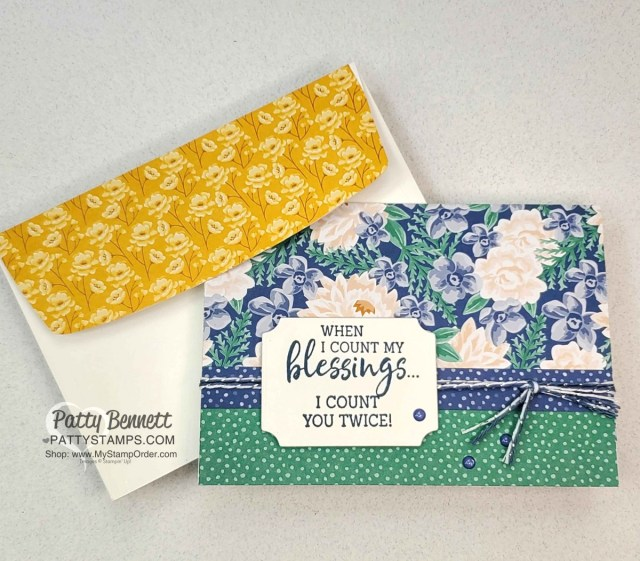 Flowers for Every Season Floral blessings note card idea with Stampin' UP! papercrafting supplies, by Patty Bennett www.PattyStamps.com