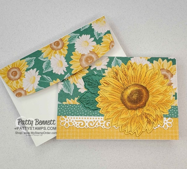 Flowers for Every Season Floral sunflower note card idea with Stampin' UP! papercrafting supplies, by Patty Bennett www.PattyStamps.com