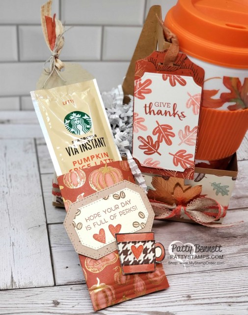 Coffee Cup Holder from Stampin UP! with Gilded Autumn paper, Pumpkin Spice Latte treat and fall mug. www.PattyStamps.com
