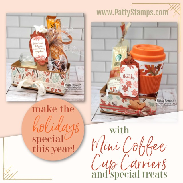 Mini Coffee Cup Holder from Stampin UP! with Gilded Autumn paper, great Thanksgiving hostess idea with candle and Lindt chocolate treats in mosaic cello bag. www.PattyStamps.com