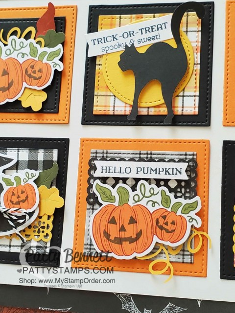 12x12 Wall Collage for Halloween featuring Stampin' UP! Plaid Tidings and Magic in this Night designer paper with the September 2020 Paper Pumpkin kit. www.PattyStamps.com