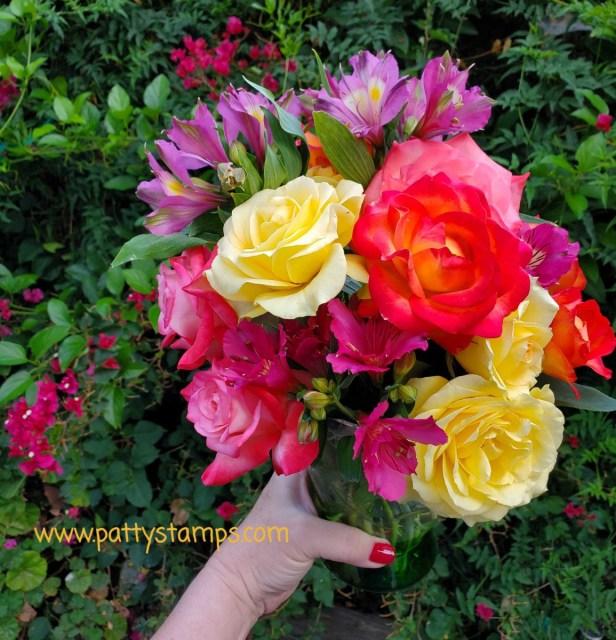 Patty's rose garden bouquet with Alsotromeria. www.PattyStamps.com