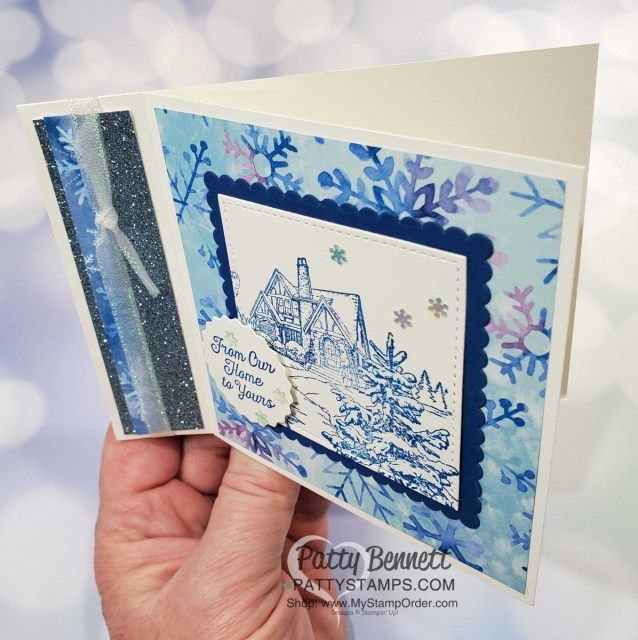 Snowflake Splendor designer paper card idea featuring side fold idea and Light Me Home stamp set. Stampin' UP! Christmas Card supplies www.PattyStamps.com