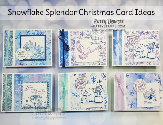 Snowflake Splendor designer paper card ideas featuring side fold idea. Stampin' UP! Christmas Card supplies www.PattyStamps.com