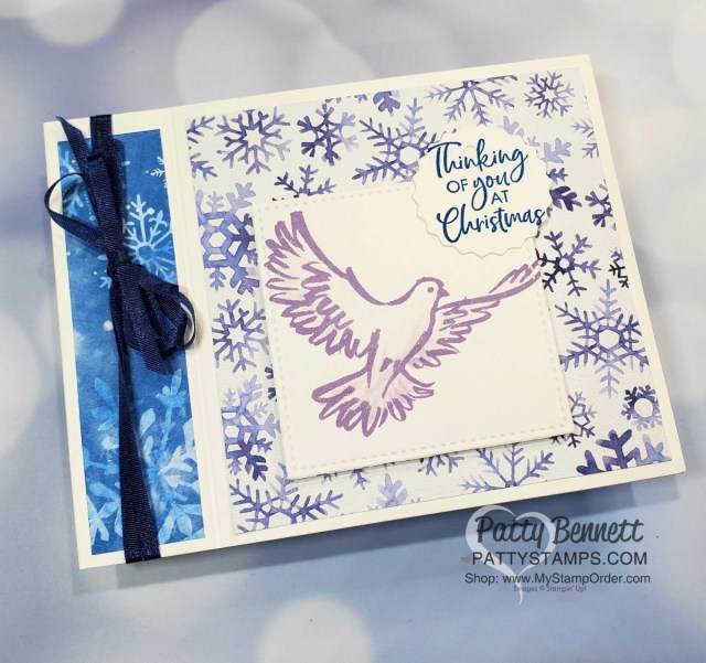 Snowflake Splendor designer paper card idea featuring side fold idea and Dove of Hope stamp set. Stampin' UP! Christmas Card supplies www.PattyStamps.com