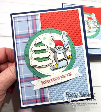 Snowboarding Penguin with Stampin' Blends and Wink of Stella