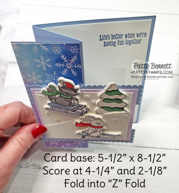 Freezin' Fun Bundle with Stampin' Up! perfect for coloring with Stampin' Blends Alcohol markers. Z Fold Christmas card idea. www.PattyStamps.com