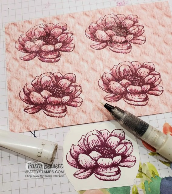 Stamp Tasteful Touches flower image with Rich Razzleberry ink on In Good Taste paper, and blend with Wink of Stella pen.