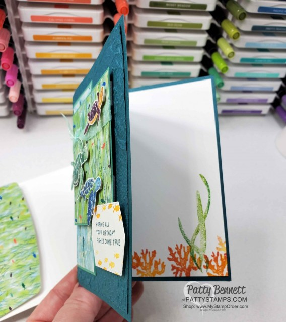Stampin' Up! Whale of a Time Suite products featured in this birthday card with turtles and Seabed embossing folder.