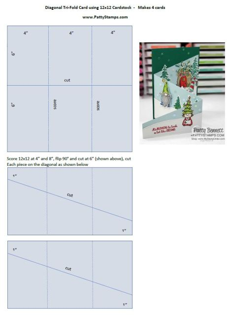 Cutting & Scoring dimensions for tri-fold diagonal cards from 12x12 cardstock. www.PattyStamps.com