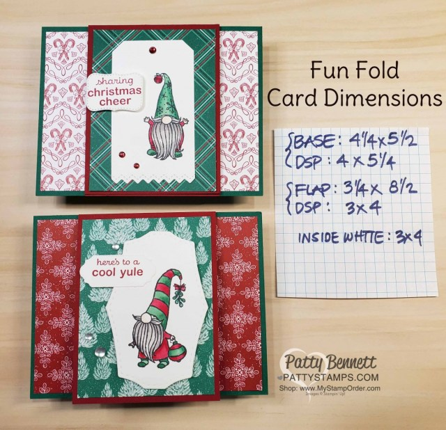Dimensions for Stampin UP! Gnome for the Holidays Christmas cheer card ideas featuring Stampin Blends coloring and 'Tis the Season designer paper. www.PattyStamps.com
